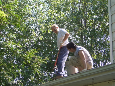 Cleanup --  Daniel and Beebs on the roof